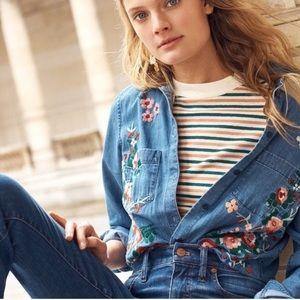 Madewell Floral Embroidered Denim Shirt